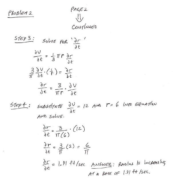 Related Rate Calculus Problem Page 2